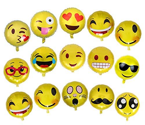 Okaytec Set 26 pz Grandi Palloncini Faccine Emoji - Fantastici Elementi per Decro Casa Decoro Giardino - 26 Divertenti Emoji Palloncini Decorazioni Festa, Compleanno - Palloncini per Divertimento