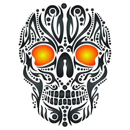 Skull Tattoo Schablone–wiederverwendbar Tribal Ethnic Maori Wand Schablone–Vorlage, auf Papier Projekte Scrapbook Bullet Tagebuch Wände Böden Stoff Möbel Glas Holz usw. m