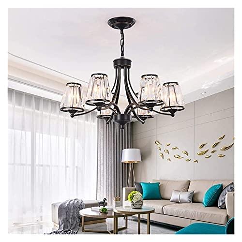 Lámpara de Techo Φ65 × 40cm Candelabro de Cristal LED Negro Lámpara de Techo Luz cálida Artesanía de Hierro Sala de Estar Dormitorio Comedor Entrada