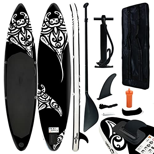 vidaXL Juego de Tabla de Paddle Surf Hinchable Inflable Portátil Deporte Viaje Piscina Lago Bomba Manual Estable Duradero Negro 305x76x15 cm