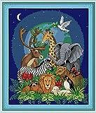 SCDSM Kit de punto de cruz para principiantes, diseños de bordado de punto de cruz estampados fáciles,Mundo animal león jirafa, DIY 11 CT 3 hilos, divertidos kits de bordado para adultos - 40 x 50 m