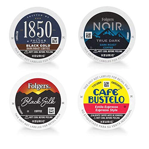 Folgers, 1850 by Folgers, Café Bustelo Dark Roast Variety Pack, 46 Keurig K-Cup Pods, Folgers Black Silk, Folgers Noir True Dark, 1850 by Folgers Black Gold, Café Bustelo Espresso