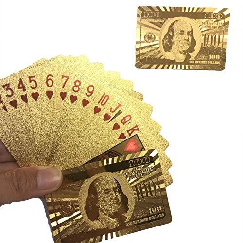 Appearanice Naipes de Oro Impermeables Naipes de póquer de Hoja de Oro de Uso Duradero