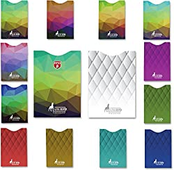 Quilt-look RFID sleeves, set of 6 credit card protective sleeves and 1 passport holder, unique, exclusive, elegant designs for everyday use, theft protection, a must for every traveler Multicolored sofa