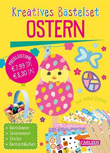 Kreatives Bastelset: Ostern: Set mit Bastelpapier, Seidenpapier, Stickern und Bastelstäbchen