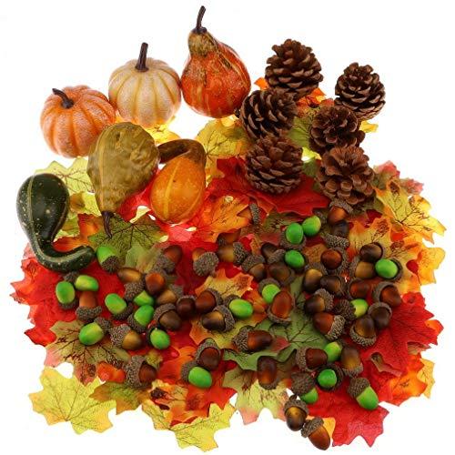 Gresorth Künstlich Fälschung Kürbis Grün Braun Eichel Lebensecht Herbst Ahornblatt Natur Tannenzapfen Halloween Dekoration