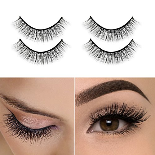 3D Mink Eyelashes, Self-Adhesive Eyelashes No Glue Involved,Ikibity Fake Lashes Extensions Reusable for Makeup Nature, Long and Soft-2 Pairs