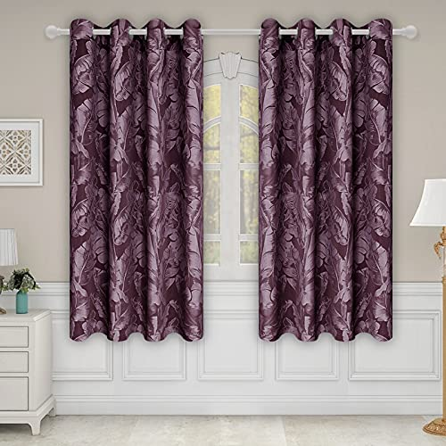 Easy-Going Jacquard Leaf Pattern Curtains, Double Layer Blackout Curtains for Bedroom, Luxurious Noise Reducing Thick Window Drapes, 2 Panels, 52x72 in, Wine