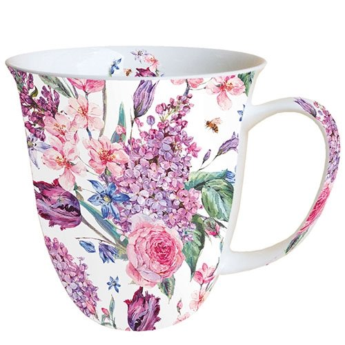 Ambiente Becher - Mug - Tasse - Tee/Kaffee Becher ca. 0,4L Flower Composition White
