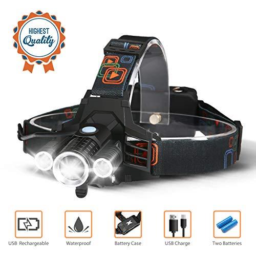 CAMTOA Lampe Frontale LED Super Lumineuse 5000 lumens Rechargeable 4 Modes, étanche avec LED T6 pour la Course, la pêche, Le Camping, la Lecture, la randonnée (2 Piles 18650 et USB incluses)