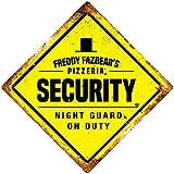 FNAF Security Yellow Diamond Metal Wall Sign Plaque Game Bedroom Night Guard Decor Novelty Art Sign Funny Aluminum Metal Tin Signs