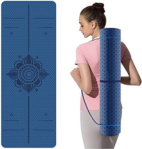 Yogamatte, TPE Sportmatte Fitnessmatte Rutschfest für Workout Umweltfreundlich Trainingsmatte Gmnastikmatte für Yoga, Pilates Heimtraining, 183 x 61 x 0.6CM
