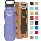 Healthy Human Water Bottle Curve, BPA Free Metal Stainless Steel Sports Water Bottles, Durable Leak Proof Insulated Waterbottle Flask 21oz Curve Lilac