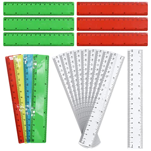 Reglas de Plástico Transparentes,Saijer Flexibles Medición a Doble cara Creatividad Regla de Color Utilizado para Estudiantes Profesores Herramientas de Regla de Medición