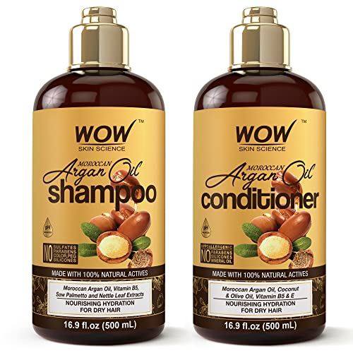 WOW Moroccan Argan Oil Shampoo and Conditioner Set, Increase Moisturization, Hydration For Dry, Damaged Hair Repair, No SLS, Parabens or Sulfates, All Hair Types For Men and Women, 16.9 Fl Oz Each