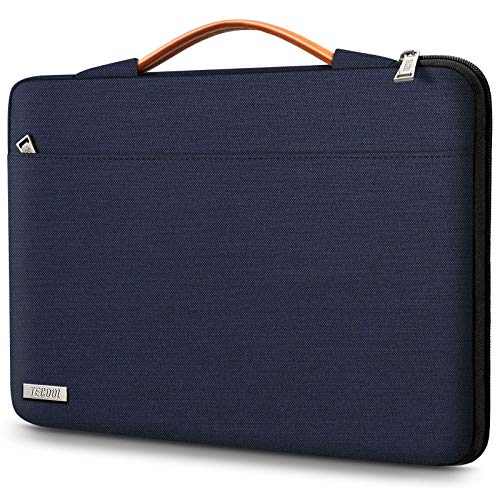 TECOOL 14' Funda Portátil Ordenador Bolsa Blanda PC para 14 Pulgadas HP/Lenovo/DELL/Acer/ASUS/Notebook Chromebook, 15' Surface Laptop 3, 2016-2019 MacBook Pro 15 con Manija Retráctil, Azul Oscuro
