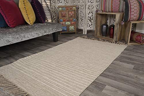 Second Nature Online Bekal Teppich Sandfarbend Beige und Off White Nadelstreifengewebe aus Baumwoll-Jute-Garn - 60cm x 90cm