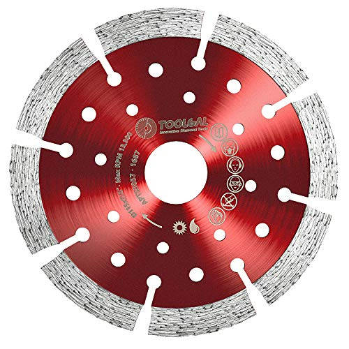 "TOOLGAL Diamond Blade 4.5' for Masonry - Wet and Dry Cutting of Concrete/Tiles/Stone - ⅞"" Arbor fit to Angle Grinders, Circular Saws, Masonry Saws, Tilesaw and Cutoff Cutters"