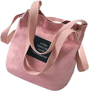 Wultia - Girls Shoulder Bag Trend Versatile Ladies Messenger Bag Canvas Crossbody Bags for Women Bolsa Feminina Dropshipping #T09 Pink