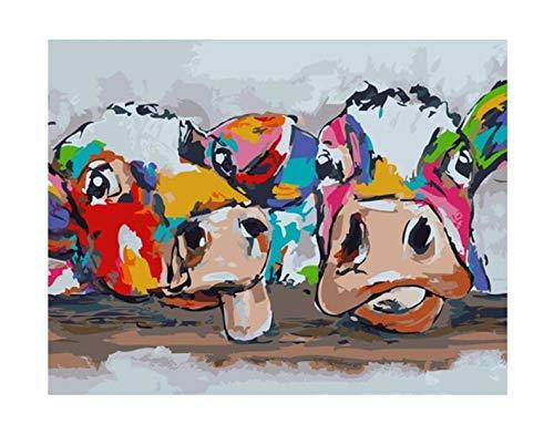 Wandkunst Leinwanddruck Ölgemälde abstrakte Bunte Kuh Tiermalerei Bild Hauptdekoration 40X50 cm ohne Rahmen