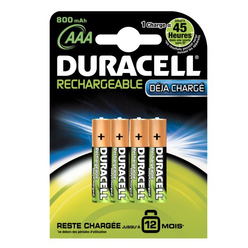 Duracell Stay Charged Rechargeable AAA (LR03) Batteries 800 mAh Pack of 4