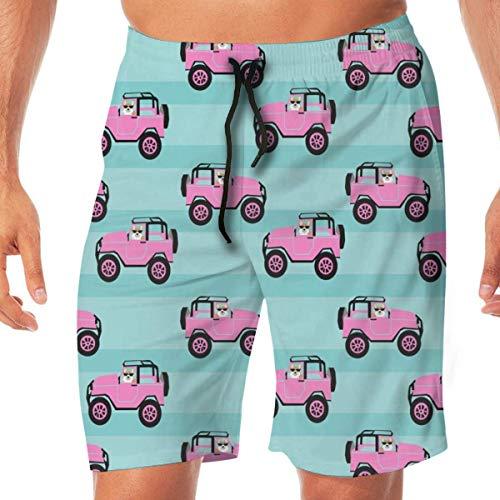 wwoman Corgi Adventure Pink Car and Dog Cute Corgi Design Light Blue Men's Swim Trunks Beach Holiday Party Quick Dry with Side Pockets,L