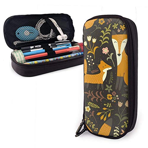 Pencil Case Pen Bag Adorable Foxes Mother and Her Baby Pencil Case, Large Capacity Pen Case Pencil Bag Stationery Pouch Pencil Holder Pouch with Big Compartments