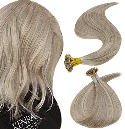 RUNATURE Keratine Pure Cheveux U Tip Hair Extensions 16 Pouces Couleur 19A Blonde Grise Melanger Avec 60 Blond Platine 40g Keratin Brazilian Smoothing Kératine Cheveux