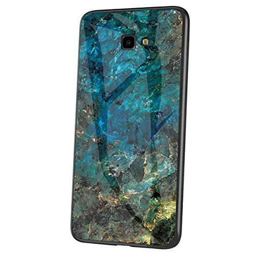 Herbests Kompatibel mit Samsung Galaxy J4 Plus 2018 Hülle Gehärtetes Glas Rückseite + Silikon Bumper Handyhülle Marmor Muster Kratzfeste Hardcase Schutzhülle Stoßfest Hybrid Hülle,Grün