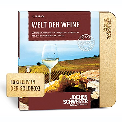 Jochen Schweizer Erlebnis-Box 'Welt der Weine', 30 Weinpakete, je inkl. 6 Flaschen Wein, Weinverkostung zu Hause, Geschenkidee