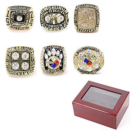 Meister Ring Set, 6 Jahre Super Bowl Pittsburgh Steelers Championship Replica Ring Set mit Display Box, für Sport Fans Geschenk Größe 8-14,10