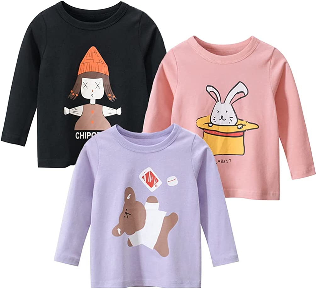 NautySaurs Girls Long Sleeve T-Shirts 3-Pack Toddler Graphic Tees Cotton Tops