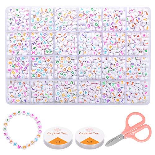 ZITFRI 1620 Pcs Perles Alphabet pour Bracelet Ronde Perles Lettres en Acrylique pour DIY Colliers avec Boite de Rangement