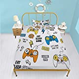 Gamer Fitted Sheet Set 3D Cartoon Gaming Bed Sheet for Kids Boys Girls Teens Video Game Bedding Set Twin 1 Fitted Sheet with 1 Pillowcase Premium Microfiber Decorative Sheet Set