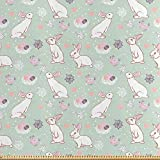 ABAKUHAUS Ostern Stoff als Meterware, Kaninchen Blumen