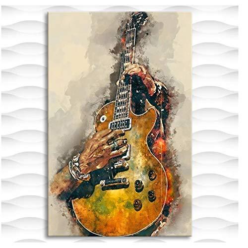 YXFAN Carteles e impresiones de pintura al óleo de guitarra eléctrica para...
