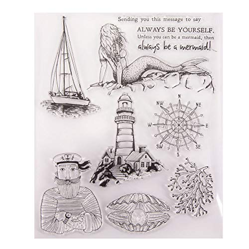 Always be Yourself Mermaid Sailor Sailing Boat Compass Lighthouse Seashell Clear Stamps for Card Making Decoration and DIY Scrapbooking