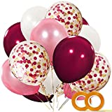 CICADAS 55 Pièces Latex Ballons,12 Pouces,Blanc,Rose,Vin Rouge, avec Ballons en Latex Confettis pour Les Anniversaires,Fête de Naissance,Décorations, Articles de fête(Rouge)