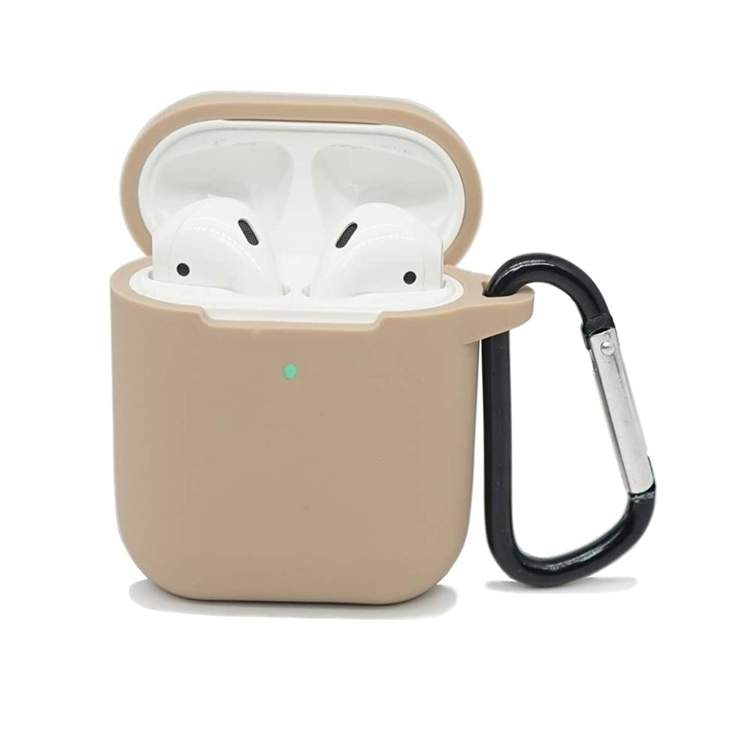 AirSha Compatible for AirPods Case with Keychain,[Front LED Visible]&[Support Wireless Charging],Shockproof Protective Silicone Cover Skin for AirPods Charging Case 2 & 1 (Khaki)