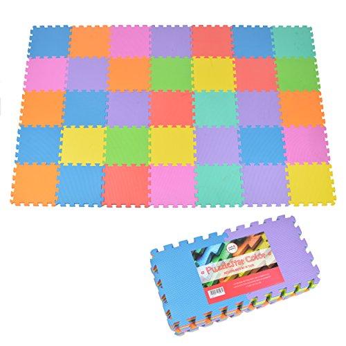 Puzzlematte Kids Color, 36 TLG. Puzzlematte für Kinder aus rutschfestem Eva - große Spielmatte zusammensteckbar, jedes Teil 30 x 30 x 1 cm - Bunte Kinderteppich zum Puzzeln