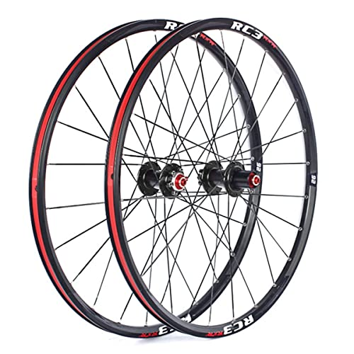 MZPWJD Ruedas Bicicleta Montaña Ruedas Juego 26/27.5/29 Pulgadas MTB Llanta 24H Carbon Buje Disco Freno Liberación Rápida Bici Rueda para 7/8/9/10/ 11 Velocidad Cassette 1800g