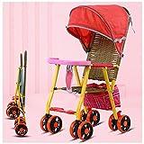 JKNMRL Kid Carriage   Silla de Paseo de bambú y ratán   Coche Infantil Plegable con toldo Ajustable y 8 Ruedas (Rojo)