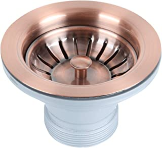 Antique Copper Kitchen Sink Stopper Replacement for 3-1/2 Inch Standard Strainer Drain, Solid Brass with Post Styled Basket - Akicon