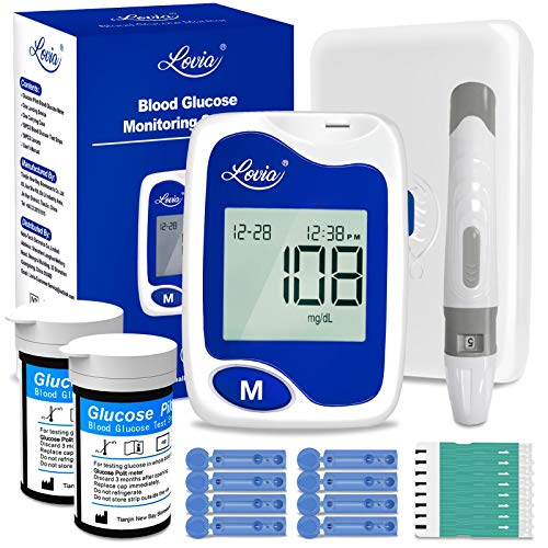Glucose Monitor - Lovia Diabetes Testing Kit, 50 Lancets, 50 Glucometer Strips, Lancing Device, Accurate & Pain Free, Blood Sugar Test Kit No Coding, Stores Up to 350 Readings