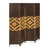 Relaxdays Biombo Separador de 4 Paneles BYÖBU, Parabán Plegable, Madera y Bambú, 179 x 180 x 2 cm, Marrón Oscuro