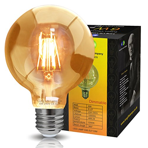 Retro Vintage LED 6w Dimmable Globe Edison Style Filament Bulb Smoked Gold Glass G95 E27 Edison Screw