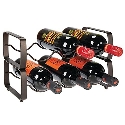 mDesign casier à bouteille (lot de 2) – range bouteille empilable en métal pour jusqu à 3 bouteilles – porte bouteille pratique pour bouteilles de vin oder autres boissons – couleur bronze