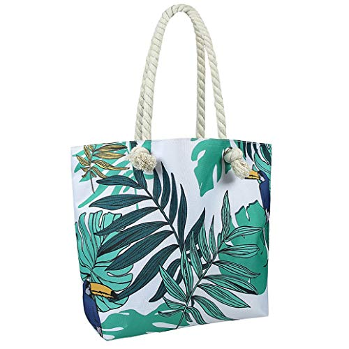 Jingmu Beach Bag for Women, Extra Large Waterproof Canvas Tote Bag for...