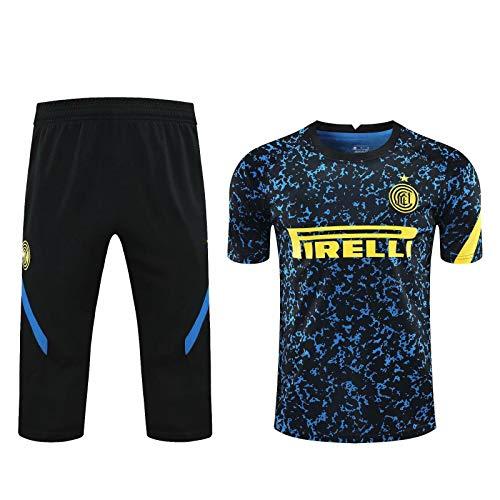 HSSE Juego De Entrenamiento De Fútbol Milan 20-21, Conjunto De Uniformes De Fútbol De Verano Unisex, Juego De Fútbol Transpirable Camiseta + Pantalones Black-S