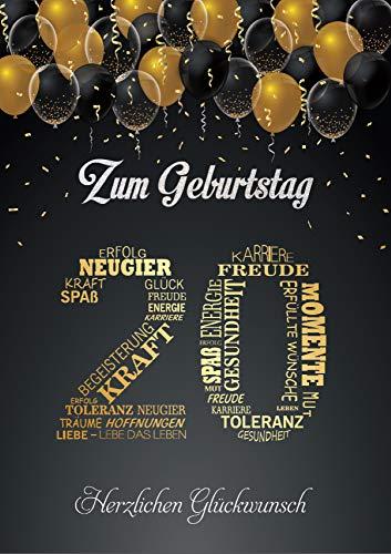 Elegante Glückwunschkarte A5 20. Geburtstag Geburtstagskarte mit Nummer 20 und Glückwünschen Schwarz Gold (20. Geburtstag)